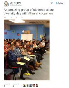 OCSB Diversity Day. OCSB invited a speaker from the LGBTQ Centre at Carleton: Sarah Cooper (@sarahcoopshow)