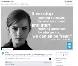 WE Day Emma Facebook 9000 Likes