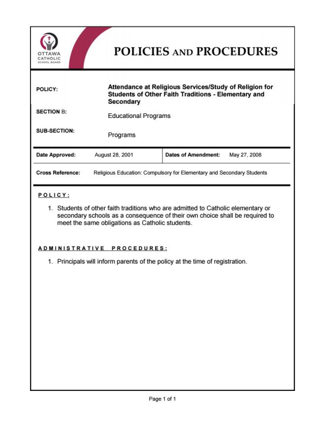 OCSB2 Ottawa mandatory