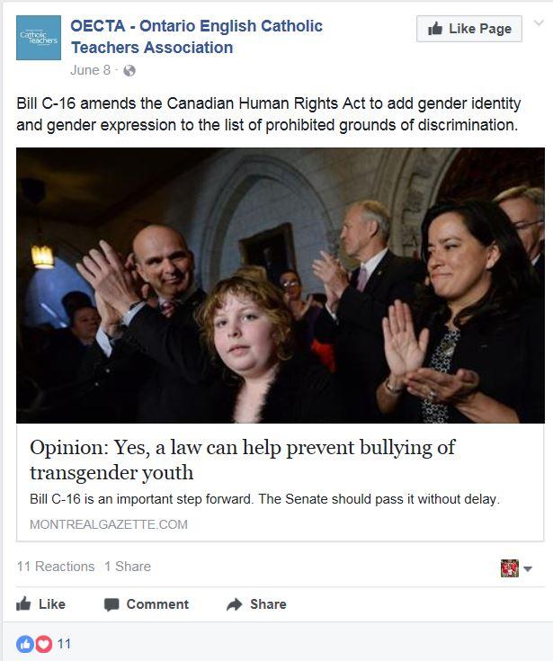 OECTA Bill C-16